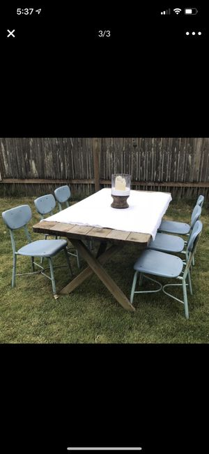 Vintage Aqua Chairs -metal and plastic, great outdoors patio deck wedding decor dining kitchen desk for Sale in Everett, WA