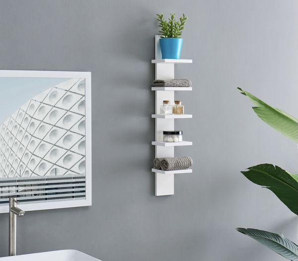 "$14 EACH + sales tax- FOUR Utility column spine wall shelves in white. Unassembled new open box. 30"" H x 5.5"" x 6"". MSRP $30 each."