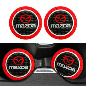BRAND NEW 2PCS MAZDA RED RUBBER CUP MAT WITH REAL CARBON FIBER EMBLEM for Sale in City of Industry, CA