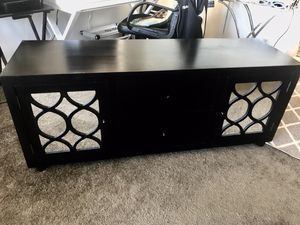 Black Entertainment/TV stand with cabinet mirrors for Sale in San Francisco, CA