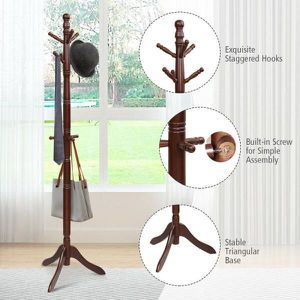 Walnut Free Standing Coat Rack Wooden Hall Tree 2-Adjustable Height with 9-Hooks for Sale in Hacienda Heights, CA