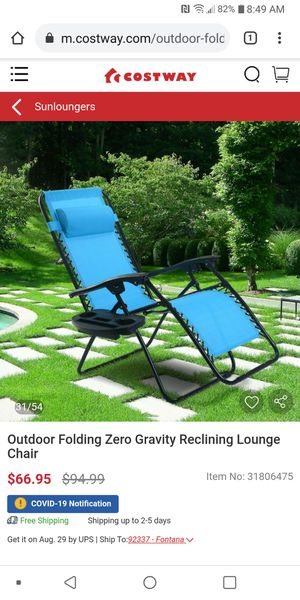 Set 2 Outdoor Folding Zero Gravity Reclining Lounge Chair New for Sale in Bakersfield, CA
