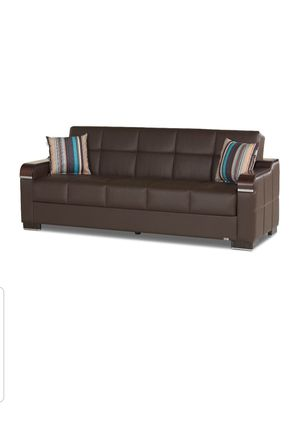 Uptown Brown PU Leather Convertible Sofa for Sale in Vienna, VA
