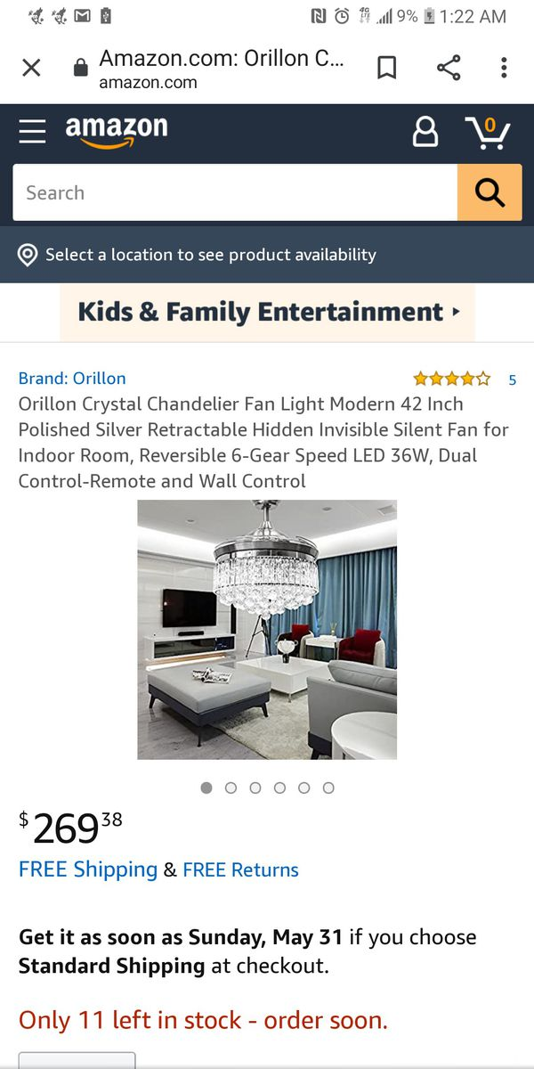 Orillon invisible ceiling fan/ chandalier