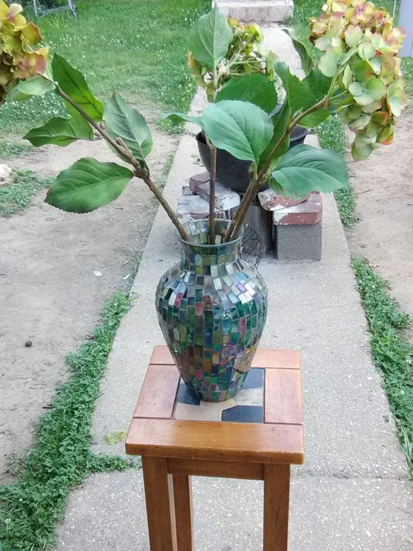 Decorative Glass Vase with Silk Flowers