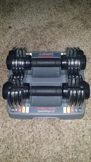 Weider speedweight 25. Adjustable dumbell set. Goes from 2.5lbs-12.5lbs each dumbbell. for Sale in Deerfield Beach, FL