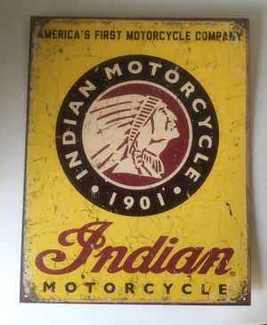 "New Tin sing ""INDIAN MOTORCYCLES SINCE 1901"" for Sale in Rialto, CA"