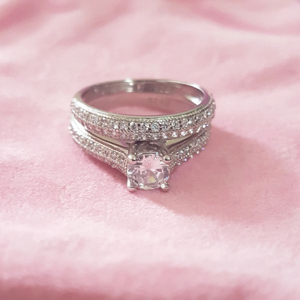 Stamped 925 Sterling Silver Engagement/ Wedding Ring Set- Code NW369