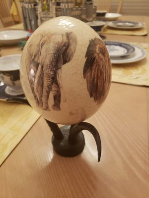 Ostrich egg painted on horns from africa for Sale in Chino Hills, CA