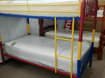 No Credit Needed No Money Down Twin Twin Metal Multicolored Bunk Bed Includes Both Mattresses for Sale in Hyattsville,  MD
