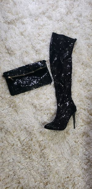 Black sequins knee boot (size 10) and bag for Sale in Camden, NJ