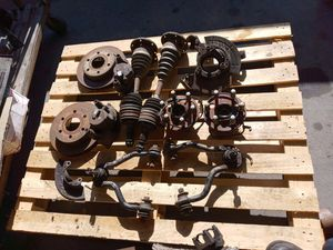 Chevy truck parts set of rear leaf springs in front end suspension the spindles hubs front axles rotors calipers for Sale in Covina, CA
