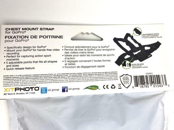 Xit XTGPCS GoPro Hero 3/3+ Cameras Chest Mount Strap, Black