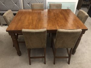 7pc Brown Upholstered Counter Height/Pub Dining Table Set Set includes Counter Height/Pub Table + 6 Upholstered Chairs for Sale in Romeoville, IL