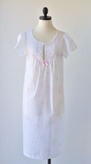 50s Vintage BARBIZONE Nightgown, Soft White Keyhole Scoop Neck, Ribbon and Lace Bib, Short Puffed Cape Sleeves, Semi Sheer, Floral Nightgown for Sale in San Diego, CA
