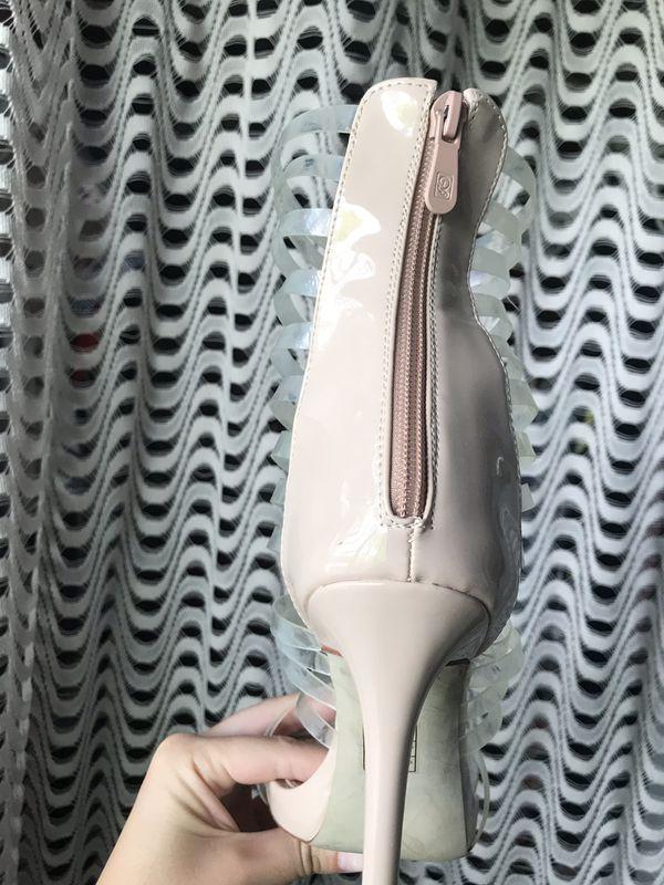 Lolashoetique strappy nude heels size 7.5