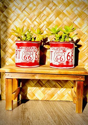 Route 66 California historic iconic rustic decor farmhouse decor tin Plant container succulents wooden display table birthday gift house warming gift for Sale in Covina, CA