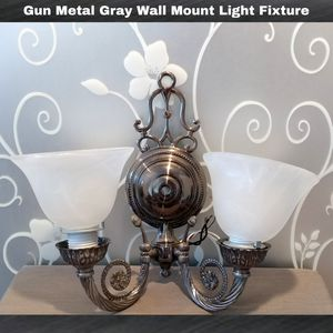 GUN METAL GRAY FROSTED GLASS WALL MOUNT LIGHT FIXTURE (READ) for Sale in Ontario, CA