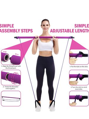 Viajero Pilates Bar Kit for Portable Home Gym Workout - 2 Latex Exercise Resistance Band - 3-Section Sticks - All-in-one Strength Weights Equipment f for Sale in Brooklyn, NY