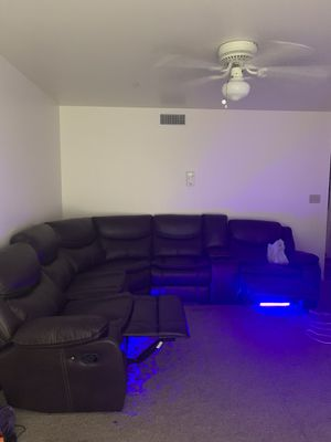 Sectional leather couch with LED lights for Sale in Spring Valley, CA