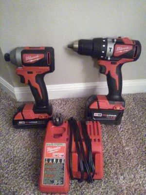 """Milwaukee M18 Brushless hammer drill/driver, 1/4"""" impact, 2 batteries 1-4.0ah, 1-2.0ah, charger and drill bits for Sale in CANAL WNCHSTR, OH"""
