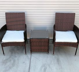 """(NEW) $130 Small 3pcs Wicker Ratten Patio Outdoor Furniture Set (Seat size 19x19"""") Assembly Required for Sale in El Monte,  CA"""