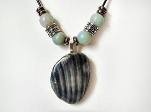 Shell Pendant Necklace With Blue Amazonite Gemstones for Sale in Stevens, PA