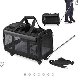 Pet carrier airline approved with A Foldable Pet Bowl durable mesh panels with telescopic walking handle dog cat carrier for Sale in San Dimas, CA