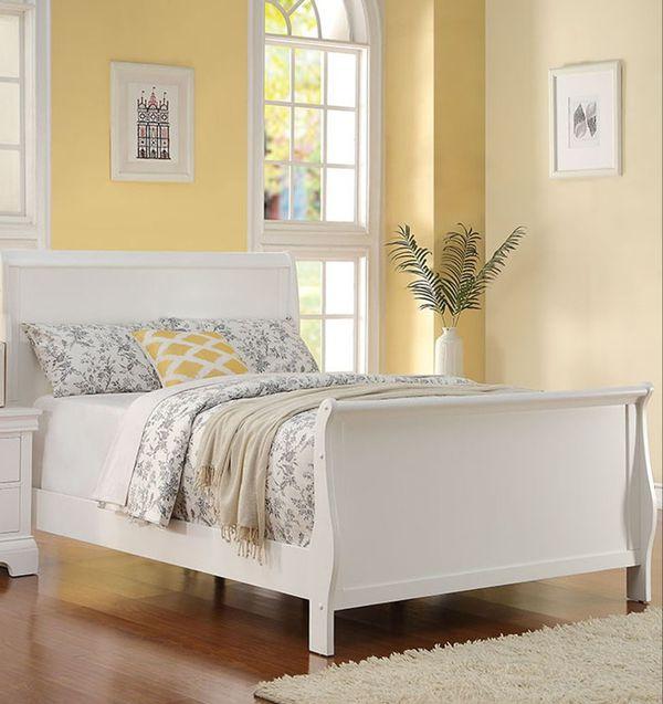 Brand New Full Size White Wood Sleigh Bed Frame ONLY