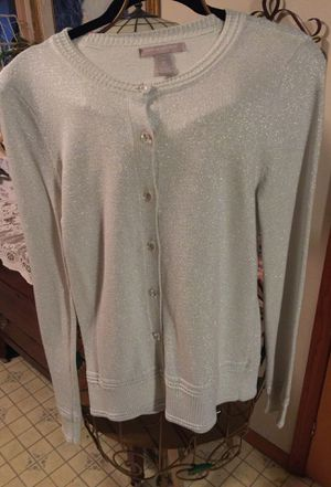 Misses light knit stretch designer. Banana Republic button front cardigan light silver sparkly fabric with clear pretty buttons pristine great Holi for Sale in Northfield, OH