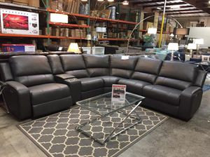 Powered Reclining Leather Sectional Sofa, Grey for Sale in Santa Fe Springs, CA