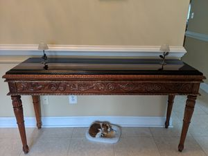 Ornate wood table with stone top for Sale in Rockville, MD
