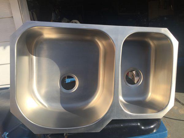 Under mount double stainless steel kitchen sink