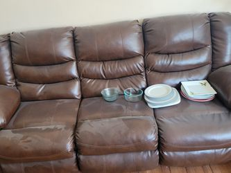 Double Recliner Genuine Leather Sofa - Chocolate Color for Sale in New Rochelle,  NY
