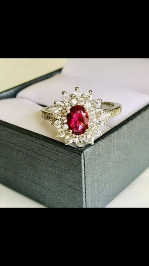 925 silver oval cut ruby Wedding engagement ring women's jewelry accessory sz 7 for Sale in Silver Spring, MD