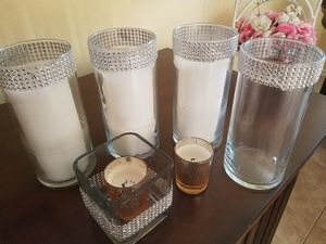 6 Elegant glass candle holders/vases for Sale in Fontana, CA