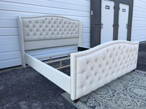 New Adorable king size bed frame with tufted wingback headboard and footboard for Sale in Columbus, OH