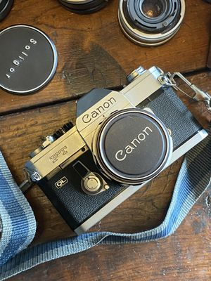 Vintage Canon FT QL Film Camera Kit w/ Leather Case And 3 Lenses 50mm Soligor for Sale in Anaheim, CA