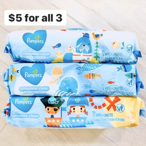 3 Packs Pampers Complete Clean Baby Fresh Scent (216 wipes total) - $5 for all 3 for Sale in Anaheim, CA