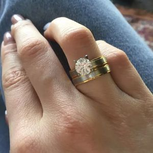 Stainless Steel Set two Rings For Women Shiny Zircon Pair Engagement / Wedding Fashion Sizes 6 and 7 available $10 for Sale in Avondale, AZ