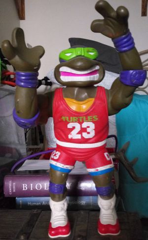 "Vintage 13"" Ninja Turtle Action Figure. Donatello wearing Michael Jordan #23 Jersey for Sale in Mission, TX"