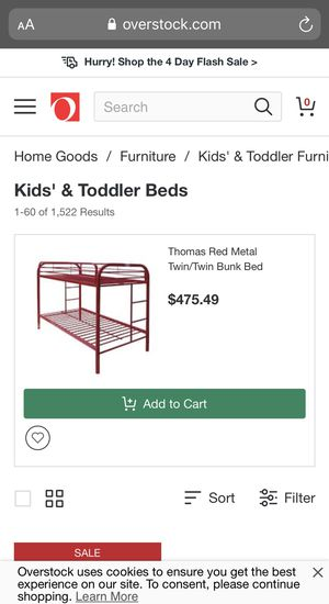 Red metal bunk bed for Sale in Las Vegas, NV