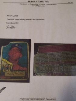 Authentic 1952 Mikey Mantle for Sale in West Palm Beach,  FL