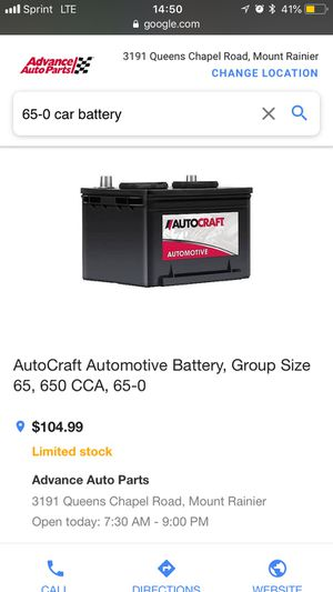 AutoCraft Automotive Battery, Group Size 65, 650 CCA, 65-0 for Sale in Clinton, MD