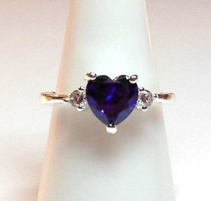 #154 ring size 9.5 simulated diamond purple amethyst heart wedding anniversary bling promise stamped 925 for Sale in Southaven, MS