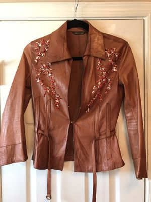 Roberto Cavalli leather shirt/jacket with authentic, exquisite coral beading! for Sale in Temple Hills, MD
