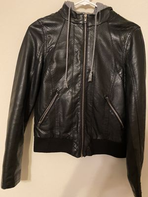 Leather jacket with detachable hoodie for Sale in Austin, TX
