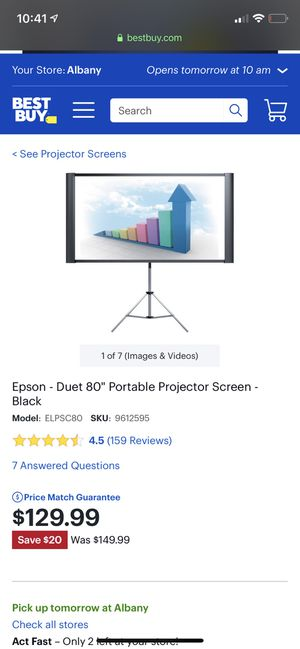 Epson Duet Projector Screen for Sale in Feura Bush, NY