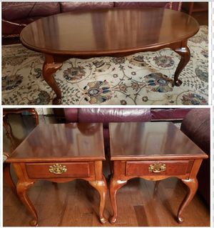 Universal Furniture's Queen Anne Style Coffee table and 2 end Tables for Sale in Gaithersburg, MD