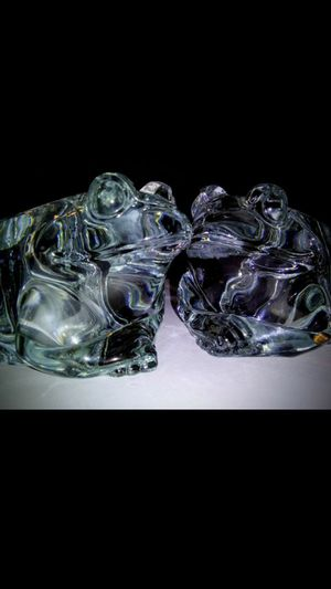 Glass Frog Votive Tealight Candle Holder PAIR, Indiana Glass for Sale in Raleigh, NC